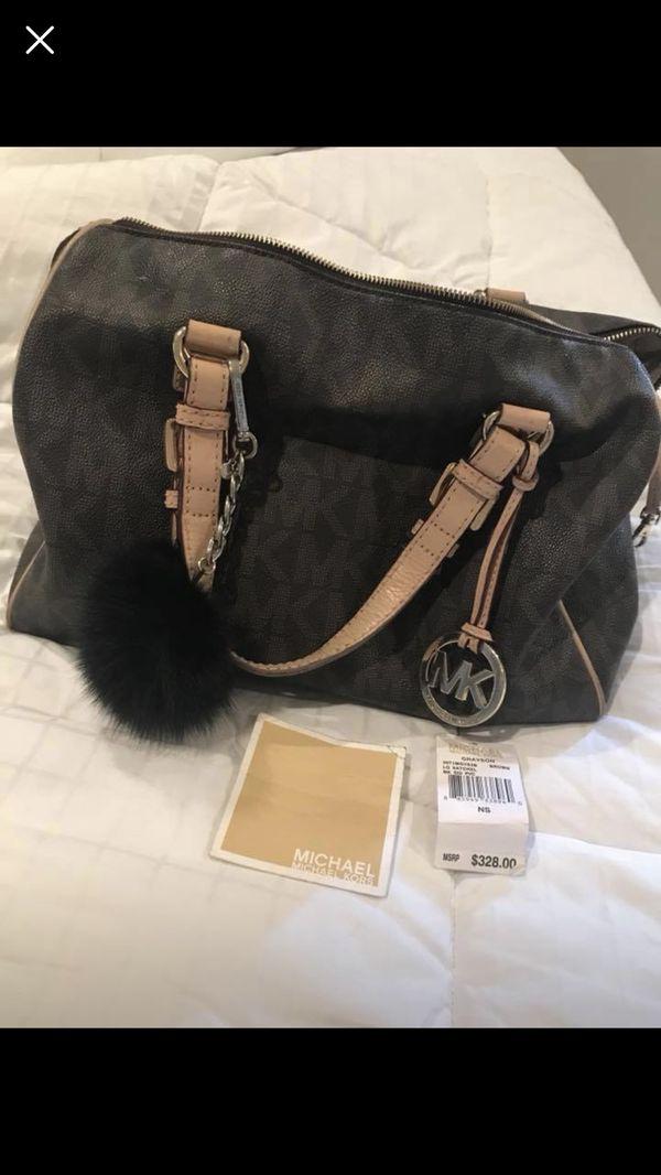 efd67dec9b9d22 Michael Kors Grayson Large Satchel Bag And Rabbit Fur Purse Key