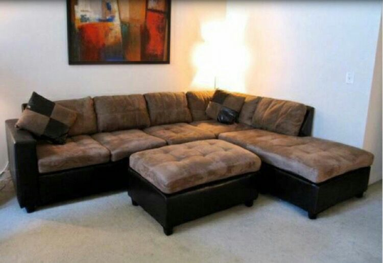 Microfiber Tan sectional, reversible chaise...NEW