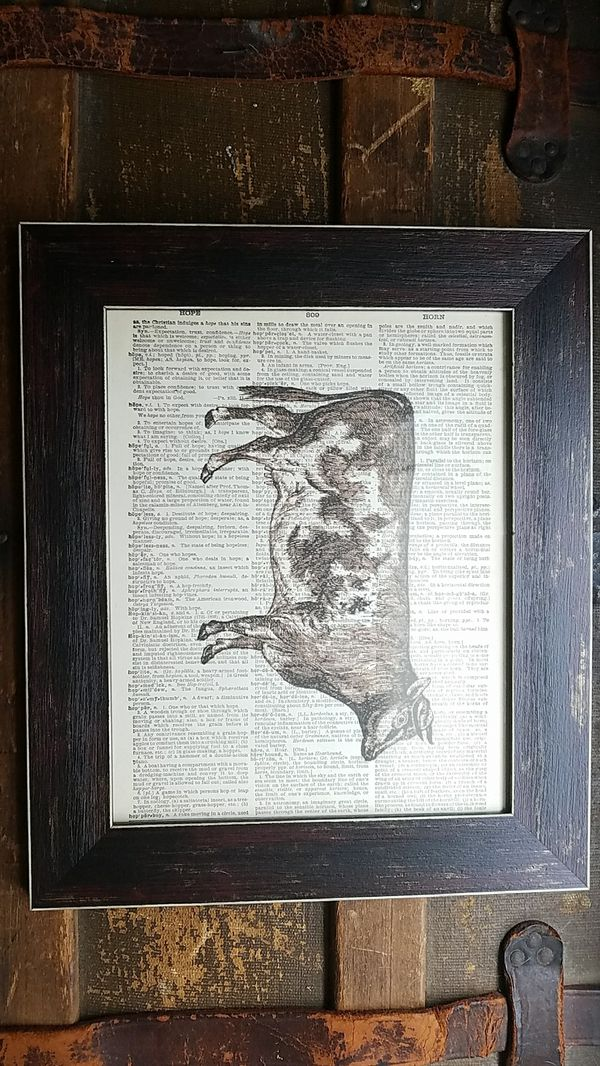Cow rustic dictionary frame wall art decor vintage illustration ...
