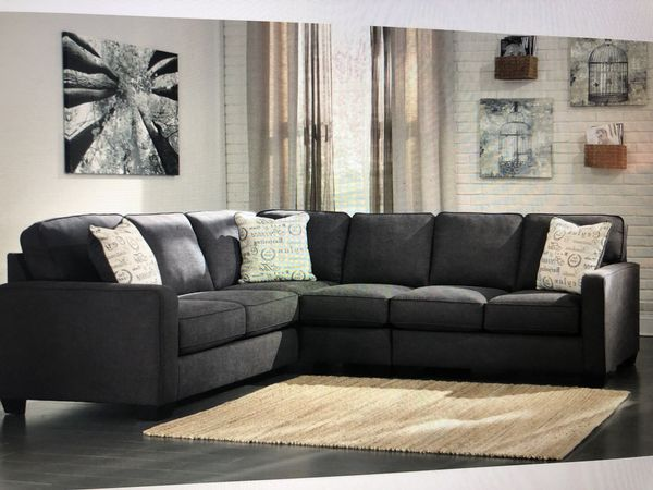 Charcoal Fabric Sectional Sofa With Right Arm Facing Loveseat
