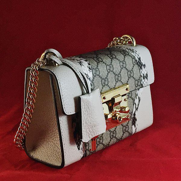 40eb0f677de0 Authentic Gucci Padlock snakeskin white small shoulder bag for Sale ...