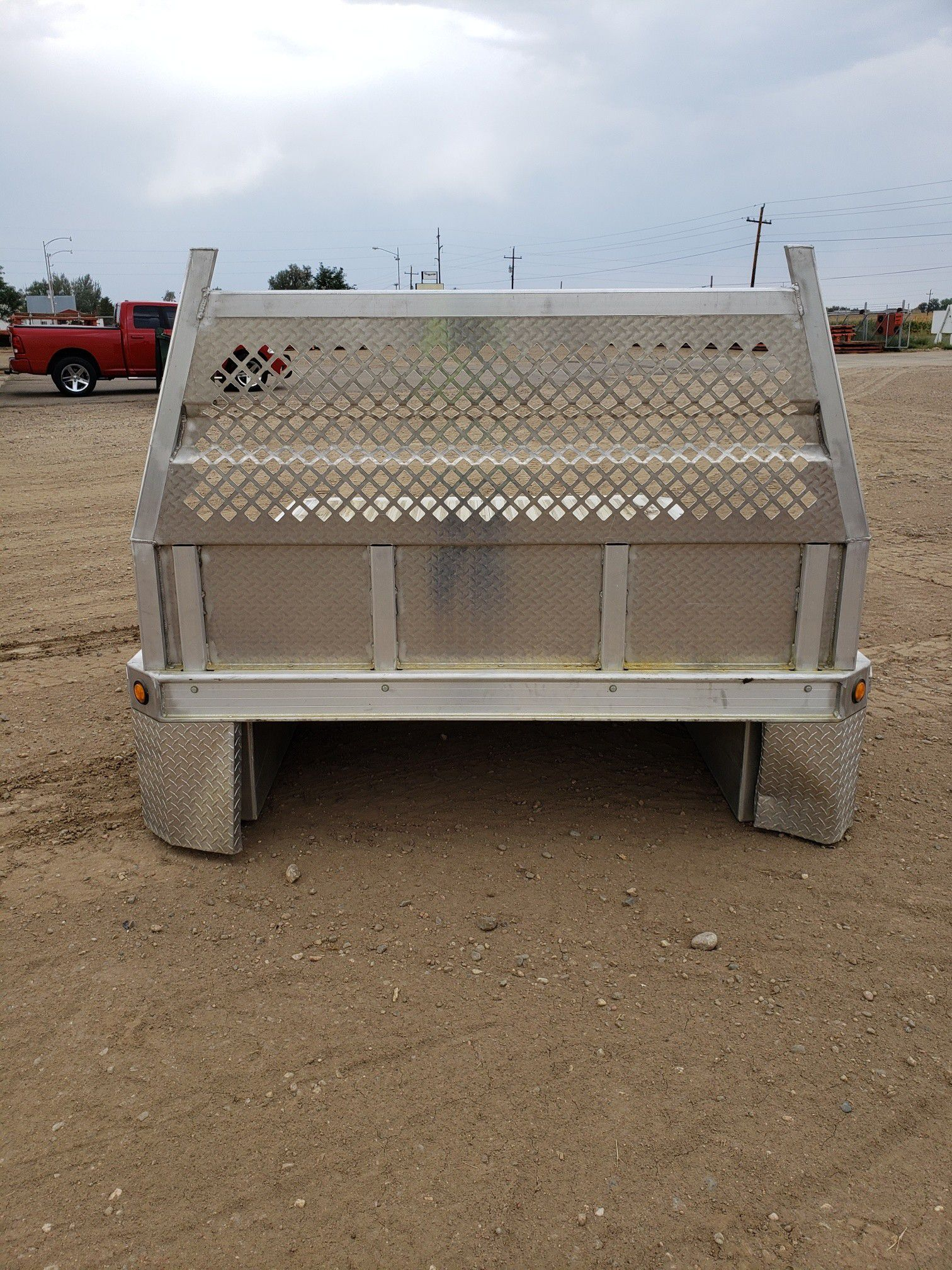 Alluminum flat bed with head ache rack and four side mount tools boxes