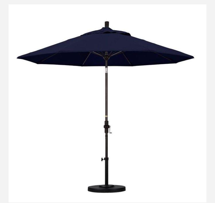 California Umbrella 9 ft. Fiberglass Collar Tilt Patio Umbrella in Navy Blue Olefin Home and Garden TX