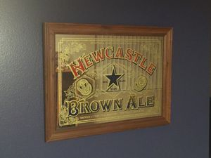 New Castle brown ale glass mirror decorative bar sign wood frame for Sale in Tampa, FL