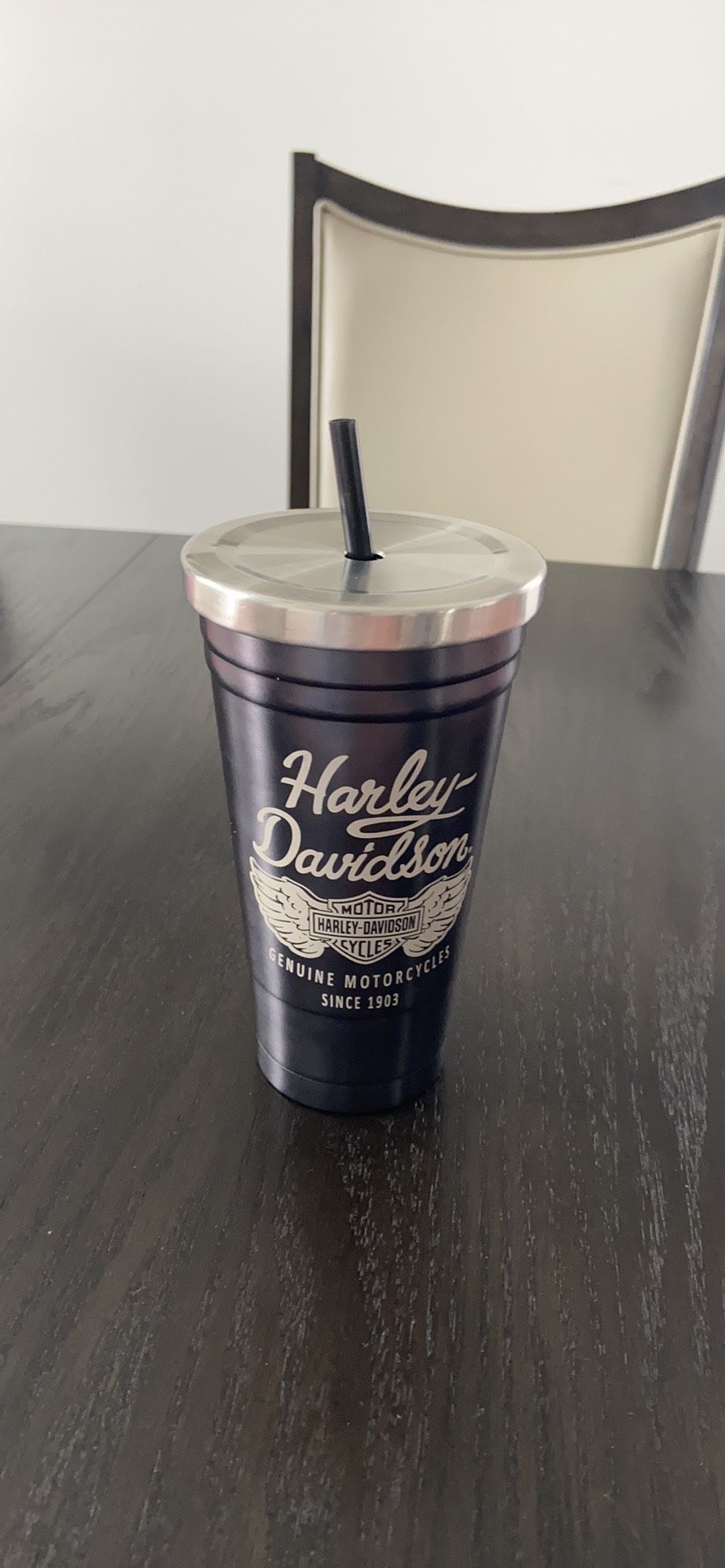 Harley Davidson stainless steel cup with straw