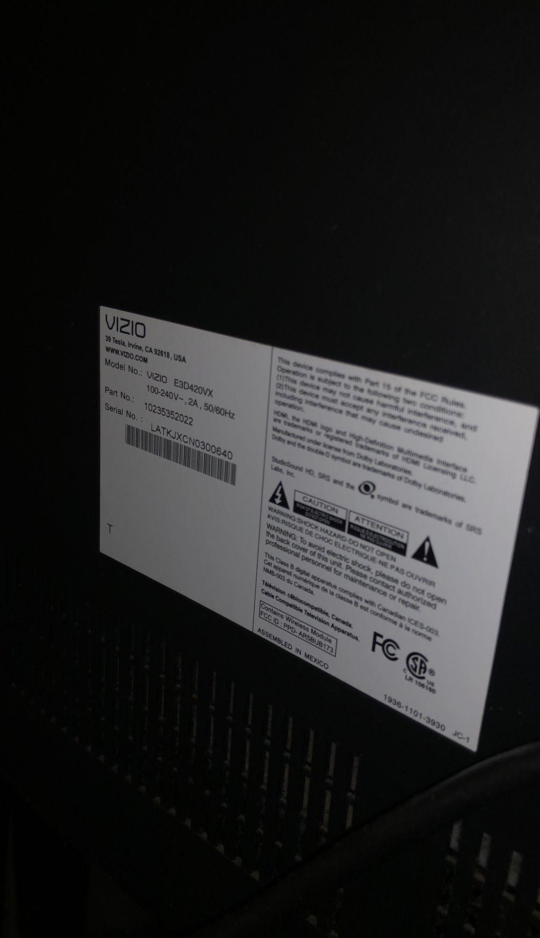"Vizio flat screen tv 40"""