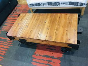 Rich Industrial Style Brown Wooden Coffee Table for Sale in Alexandria, VA