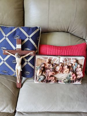 ceramic crucifix. holy dinner..in a bible for Sale in Fort Washington, MD