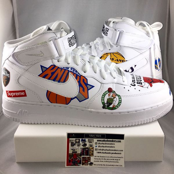 6a68a89df94 Brand New Nike Air Force 1 Mid Supreme NBA White SS18 Sz 11 for Sale ...