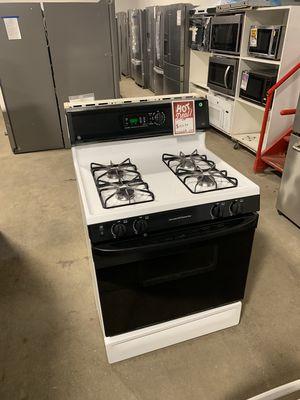 Photo On Sale GE Gas Stove Oven Black & White 4 Burner #1324