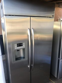 """Beautiful Stainless GE Built In Refrigerator 42"""" Wide Thumbnail"""