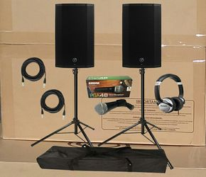 Mackie Powered Speaker Thump Series Cables Tripods Numark Headphones Tripods Shure Microphone Package Deal Thumbnail