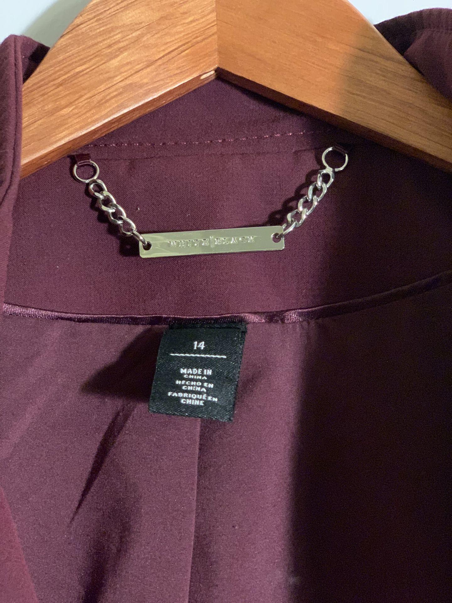 White|Black purple jacket size 14