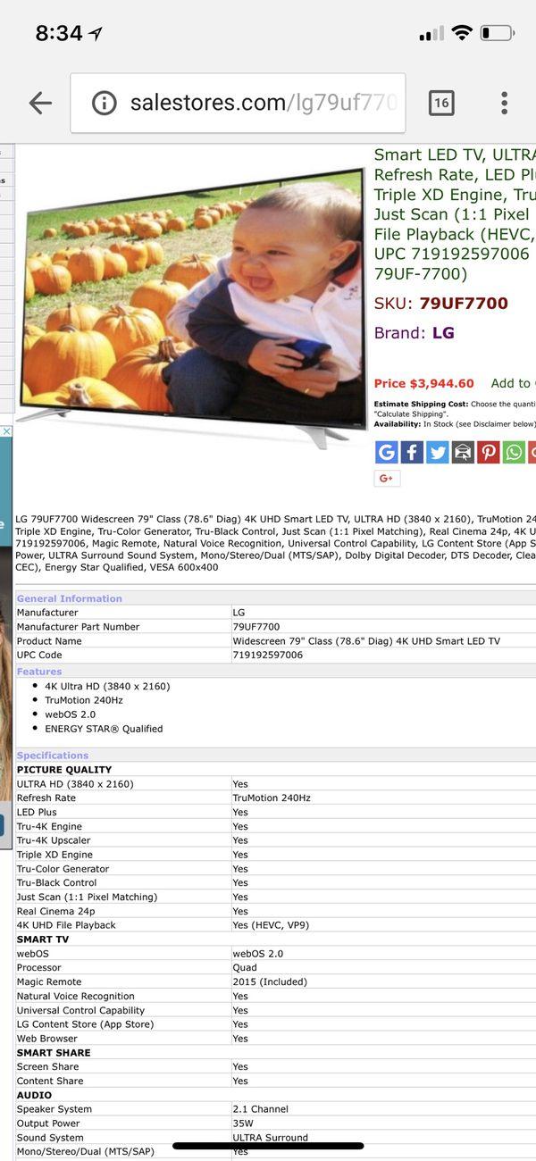 """79"""" LG ultra hd 4K smart TV for Sale in San Tan Valley, AZ - OfferUp"""