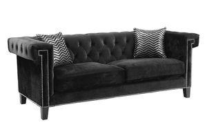 Black velvet new 3 seater sofa couch tufted greek key zgallerie gallerie gallery zgallery modani horchow eldorado dorado chair microfiber suede for Sale in Miami, FL