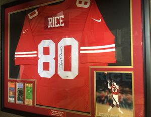 329a79a19 Jerry Rice Signed Jersey Frame Super Bowl Tickets PSA Authentication for  Sale in South San Francisco