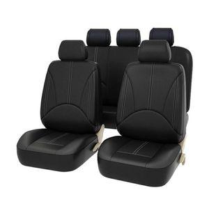 Photo AUTO HIGH 11-Pieces Car Seat Covers Full Set - Faux Leather Automotive Front/Back Seat Protectors - Black #1