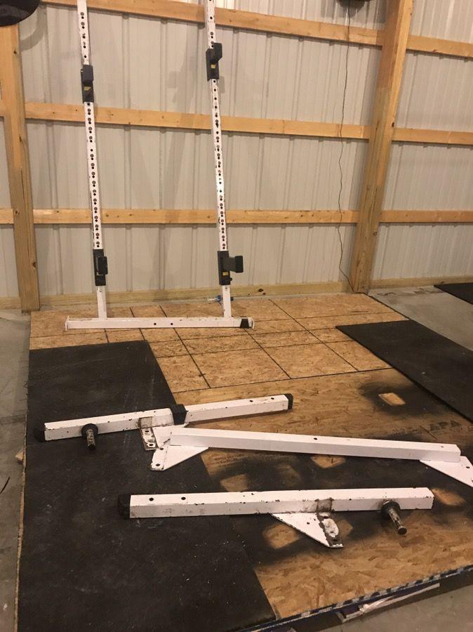 Plates, barbells, squat stand