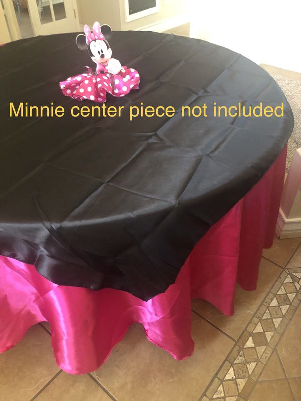 Pink Round Table.New Pink Round Linens And Black Overlays For Sale Table Cloths For Sale In Murrieta Ca Offerup