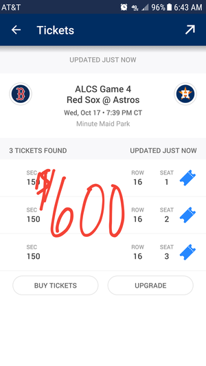 Astros Tickets Wed Home Game 2!!!! for Sale in Austin, TX
