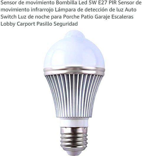 Motion Sensor Led Bulb 5W E27 PIR Infrared Motion Sensor Light Detection Lamp Auto Switch Night Light for Porch Patio Garage Stairs Lobby Carport Corr