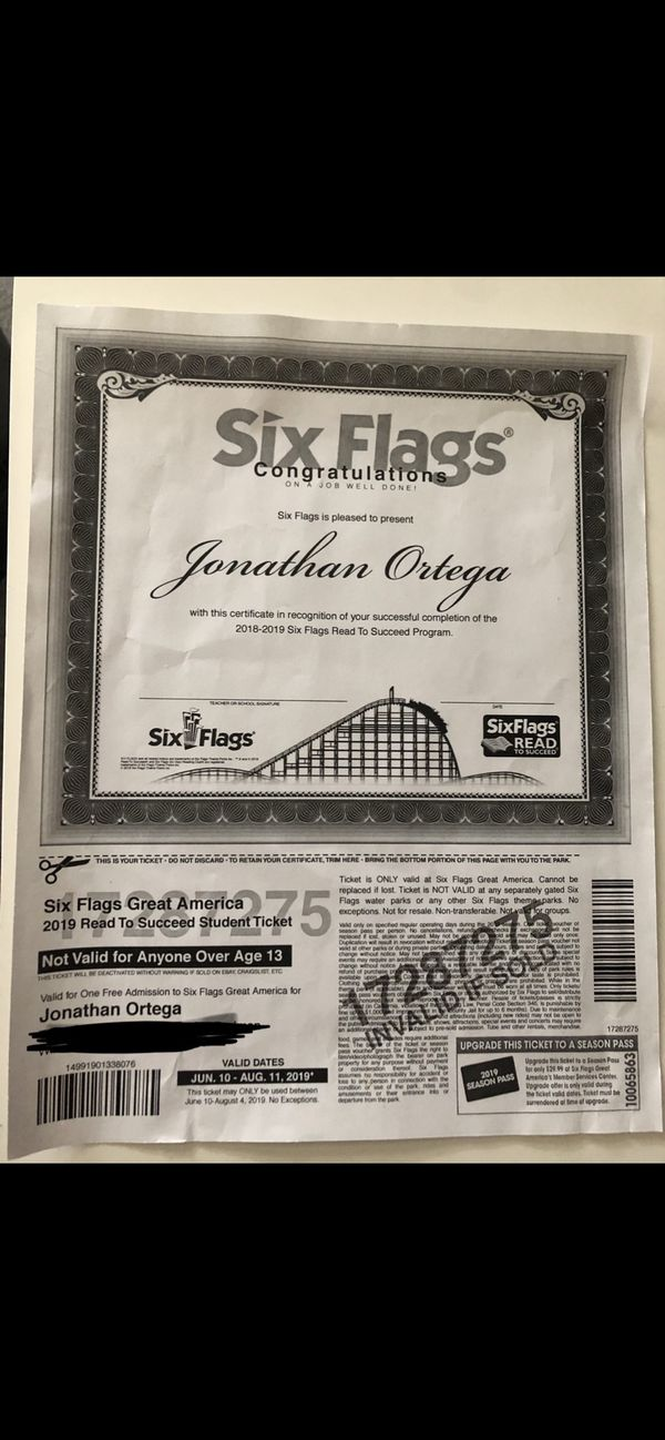 Six flags great America Ticket for Sale in Northbrook, IL - OfferUp