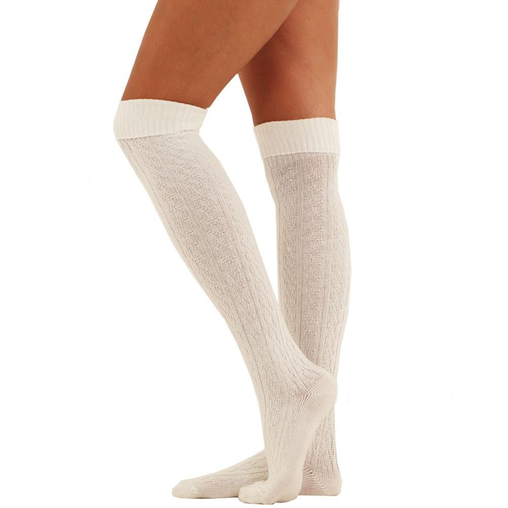 Womens Over The Knee Cable Knit Socks Warm Insulated Winter Warm Boot-Cream