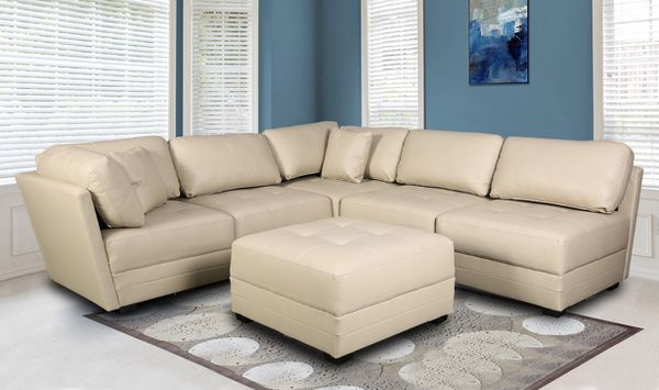 MONACO LEATHER GEL SECTIONAL SOFA AND OTTOMAN SET for Sale in Tampa, FL -  OfferUp