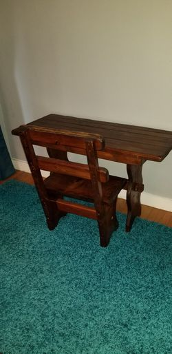 Antique table with bench, Classic look Thumbnail