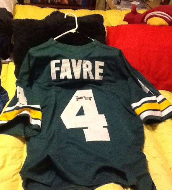 best loved 3879a 38f50 BRETT FAVRE MITCHELL AND NESS GREEN BAY PACKERS. BRAND NEW WITH TAGS  AUTOGRAPHED BOTH SIDES ALL SEWN AND STITCHED NO COA BRAND NEW WITH TAGS  $100 for ...