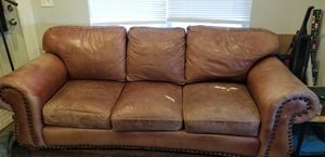 Well loved brown leather couch FREE WITH PICK UP for Sale in Salt Lake City, UT