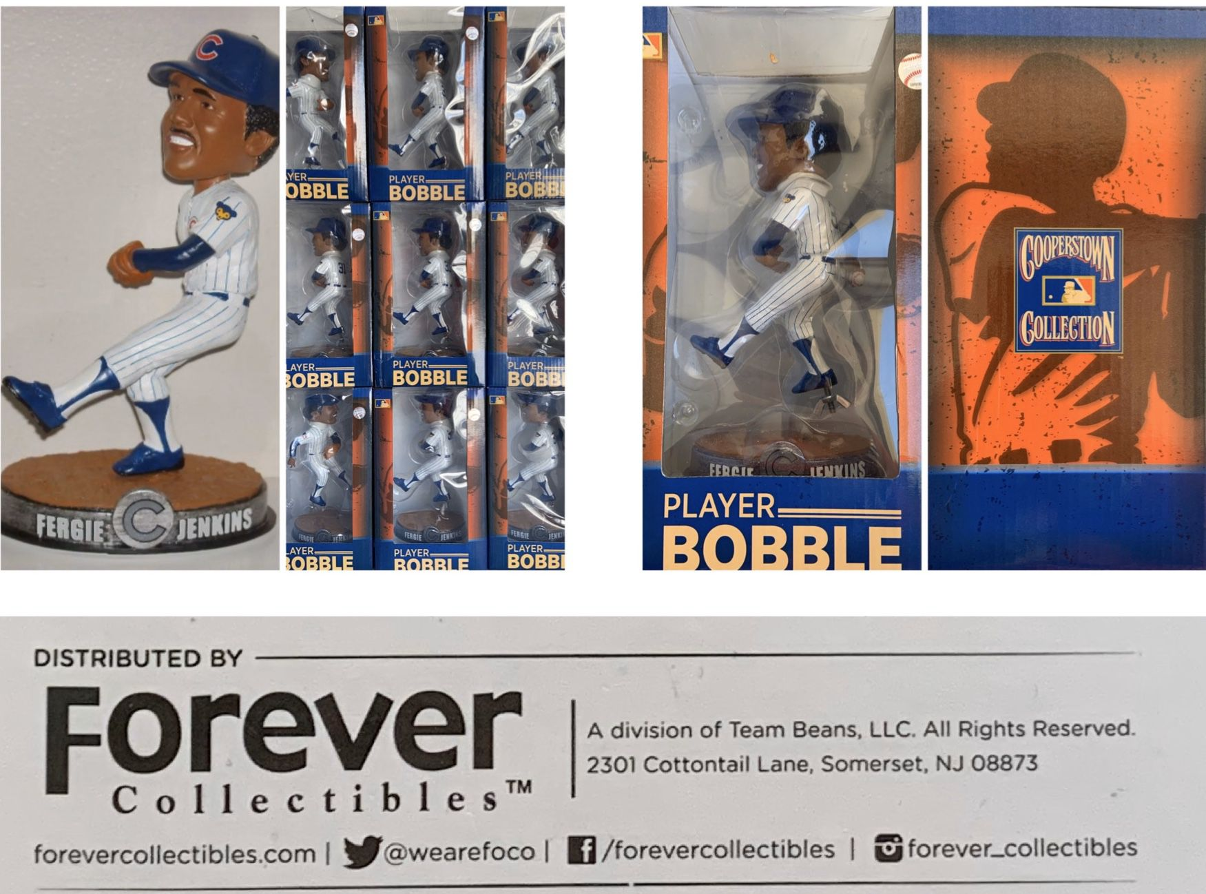 """Chicago Cubs National Baseball Hall of Fame/Canadian Baseball Hall of Fame Pitcher FERGIE JENKINS 7"""" PLAYER BOBBLEHEAD licensed by MLB & Cooperstown"""