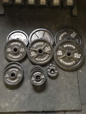 Photo Olympic weight set and standard weights