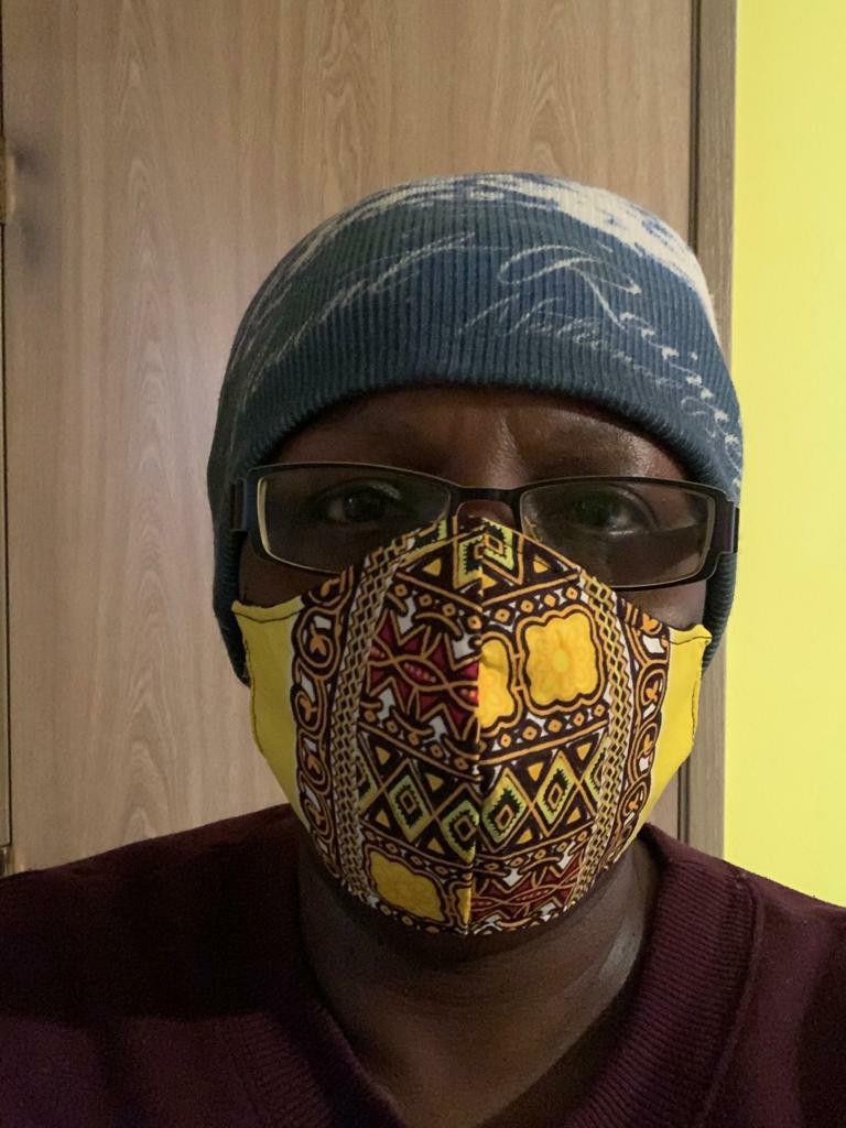 3 layered Yellow Dashiki (African Print) Face Mask