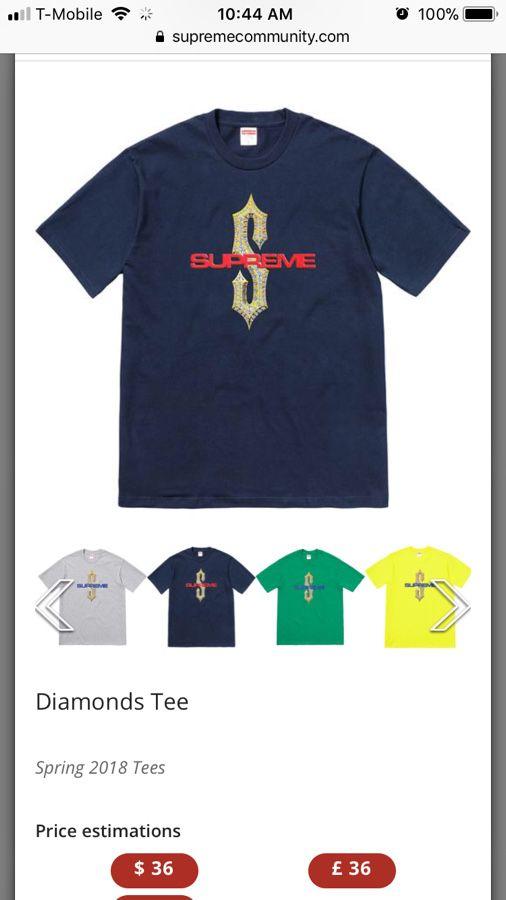 838e9a189e06 Supreme diamonds tee navy sz medium for Sale in Davie, FL - OfferUp