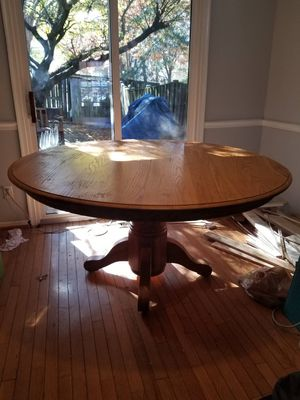 Solid Oak Round Kitchen Table for Sale in Boyds, MD