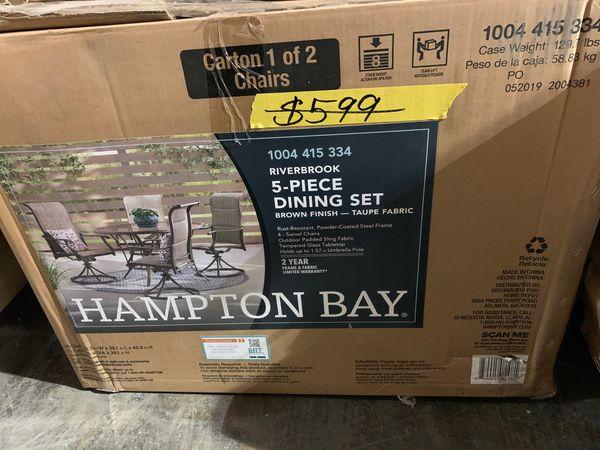 Hampton Bay Riverbrook Espresso Brown 5-Piece Steel ...