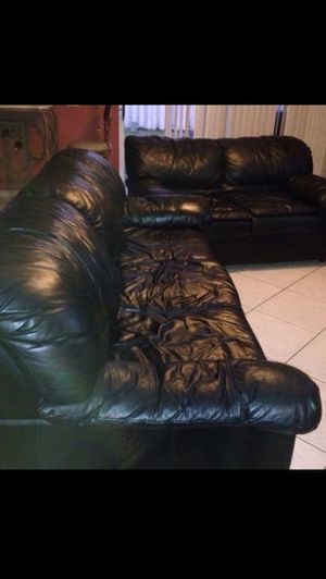 Must Go by the End of this Week, Leather Sofa and Love in Good Condition for Sale in Weston, FL