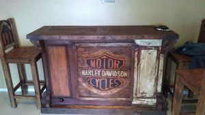 Rustic One Of A Kind Harley Davidson Bar With Three Bar Stools I Am