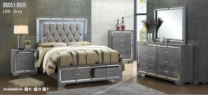 Brand new LED gray color queen size lighted complete storage bedroom set for Sale in Silver Spring, MD