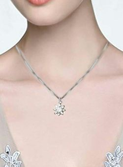 """18k Gold Plated 925 Sterling Silver CZ Flower Pendant Necklace 18"""" Thumbnail"""