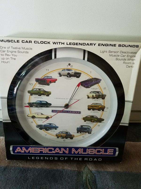 muscle car clock with engine sounds