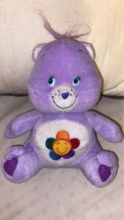 "Care Bears Harmony Bear Plush Stuffed Animal Purple Lavender Flower Tummy 7"" Thumbnail"