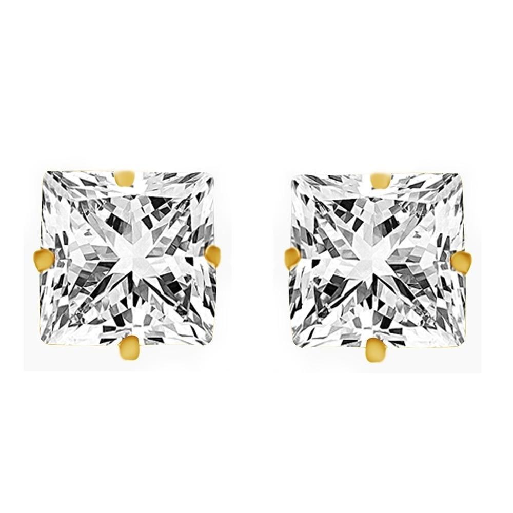 New 0.20 Ct Square Princess Cut 14K Yellow Gold Diamond Stud Earrings