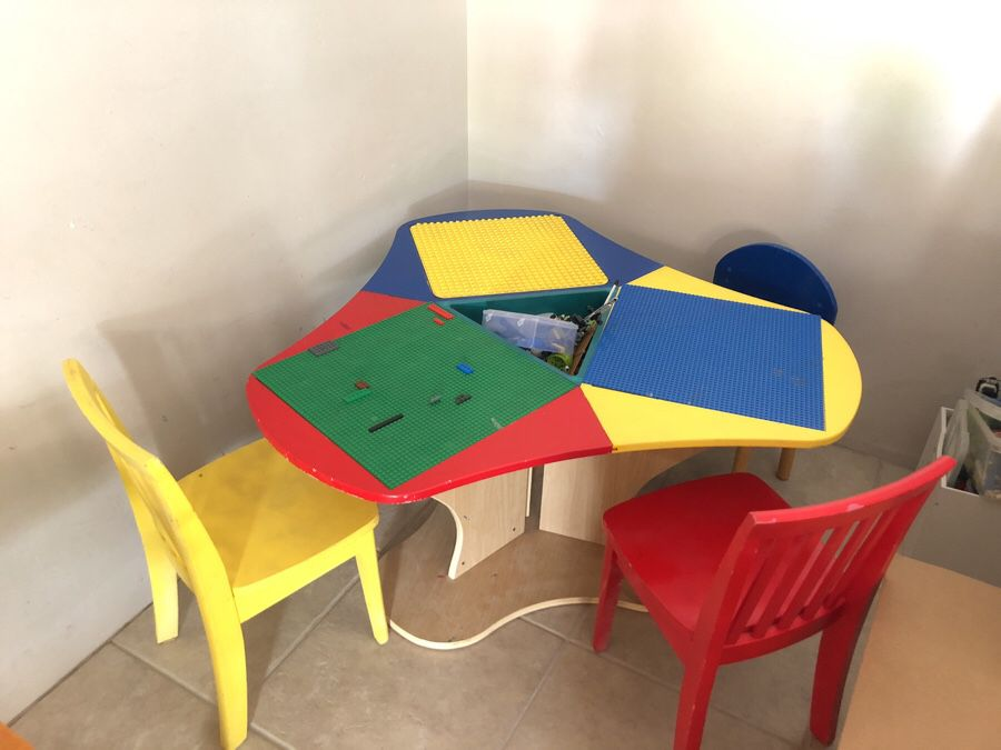 Lego Table With Three Chairs And 6, Wooden Lego Table With 3 Chairs