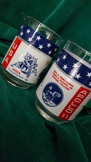 1967 walk on the moon collectible whiskey glasses for Sale in Las Vegas, NV