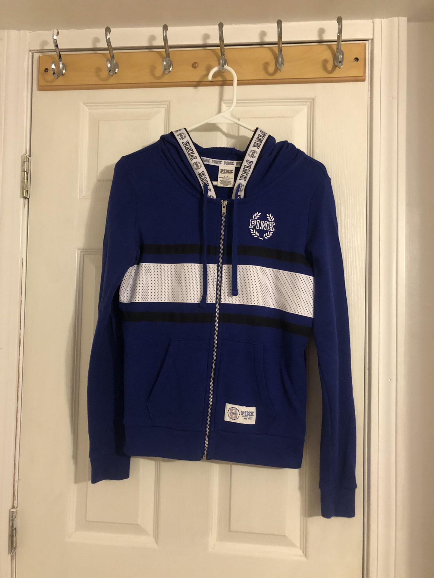 VS PINK Blue Full-Zip Hoodie (Size Small)