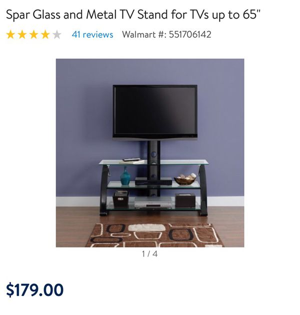 Z Line Spar Glass Metal Tv Stand For Tvs Up To 65 For Sale In