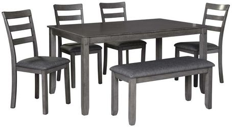 SPECIAL] Bridson Gray 6-Piece Dining Set   D383 🚚 SAME DAY DELIVERY Thumbnail