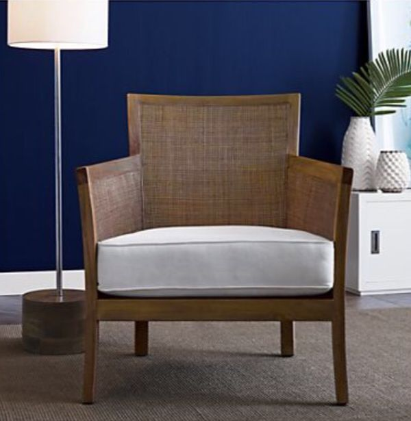Crate And Barrel Blake Grey Wash Rattan Chair With Fabric Cushion